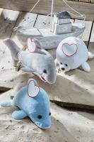 Pluszowy delfin OCEAN IDA, niebieski, biały