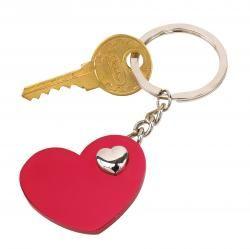 Brelok, HEART-IN-HEART, czerwony/srebrny