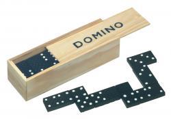 Klasyczna gra DOMINO, drewniano, czarny