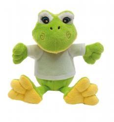 Żaba pluszowa, FRIEDA, zielony/biały
