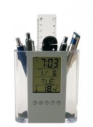 Zegar BUTLER, srebrny, transparentny