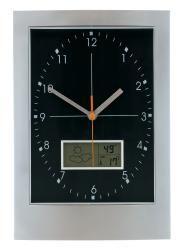Zegar ścienny, APOLLO, srebrny/czarny