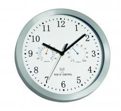 Zegar ścienny sterowany radiowo, EXACTLY, srebrny