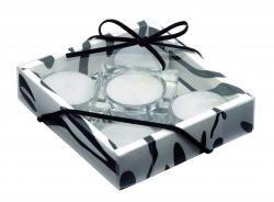 Zestaw świec, TRANSPARENT FASHION, biały/przezroczysty/czarny