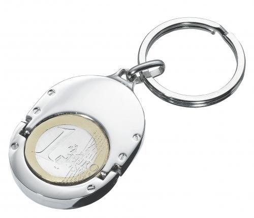 Brelok z miejscem na monetę 1 EURO HOLDER, srebrny
