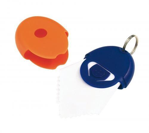 Brelok z chusteczką do okularów, NEAT, niebieski/pomarańczowy