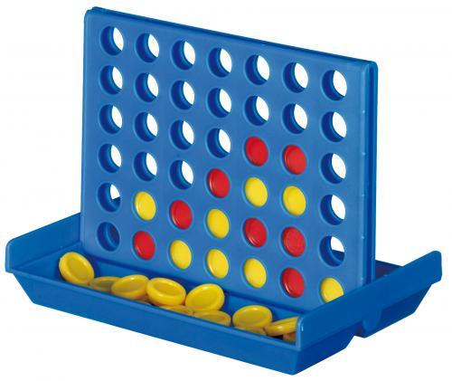 Gra podróżna 4 IN A LINE, niebieski, czerwony, żółty