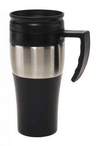 Kubek termiczny HOT DRINK, czarny, srebrny