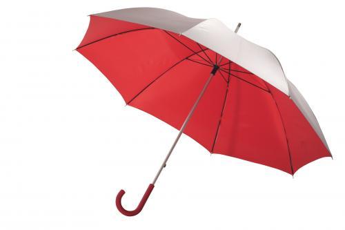 Lekki parasol SOLARIS, srebrny, czerwony