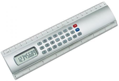 Linijka z kalkulatorek CALCULINE, srebrny