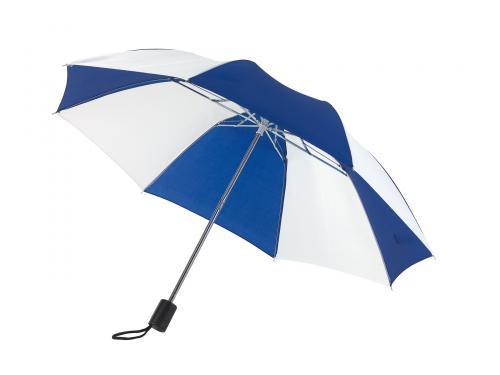 Parasol składany bez automatu REGULAR, niebieski, biały