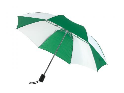 Parasol składany bez automatu REGULAR, zielony, biały