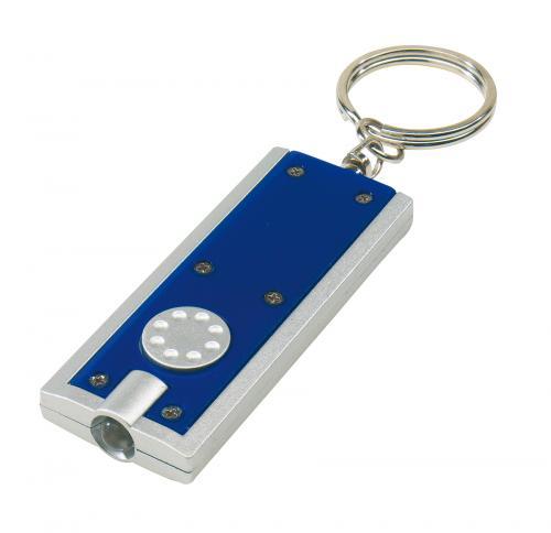 Płaski brelok LOOK, niebieski, srebrny