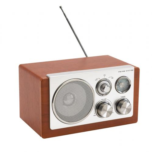 Radio AM/FM CLASSIC, srebrny, brązowy