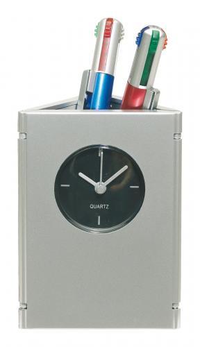 Wielofunkcyjny zegar na biurko, PICTIME, srebrny