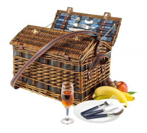 Wiklinowy kosz piknikowy SUMMERTIME, niebieski