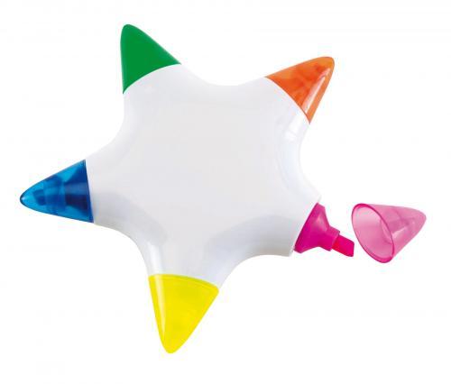 Zakreślacz STAR, biały, niebieski, zielony, pomarańczowy, żółty, czerwony