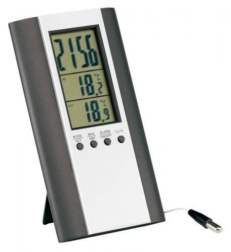 Zegar elektroniczny z termometrem, MARS, srebrny