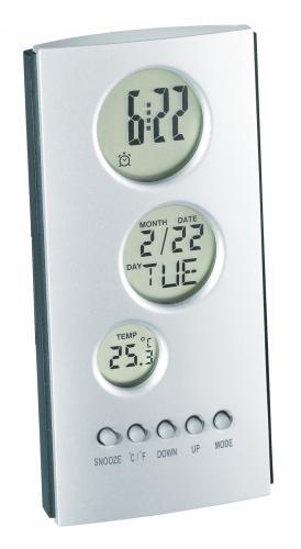 Zegar elektroniczny TOWER, srebrny, antracytowy
