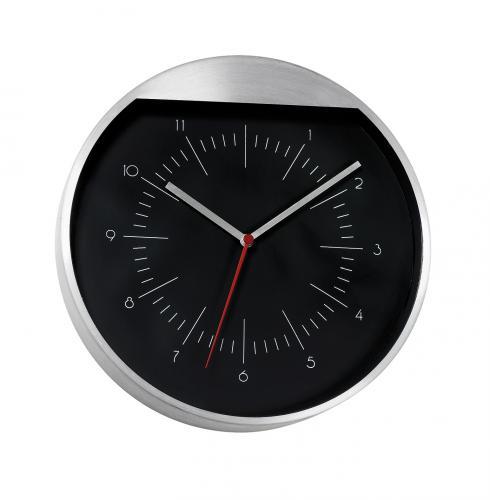 Zegar ścienny ROUNDABOUT, czarny, srebrny